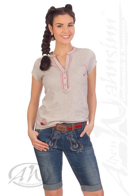 28c71b591a2c1 Hangowear Trachten Damen Jeans Shorts kurze Hose Bermuda blau grau ...