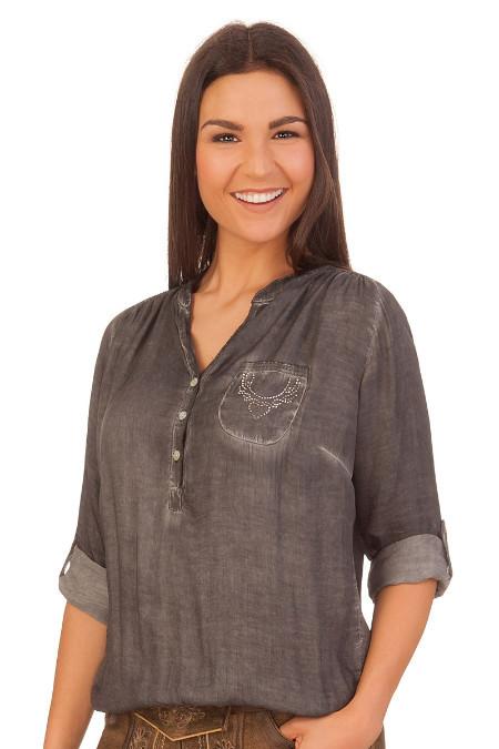 81c296af009479 Produktabbildung Hangowear Trachten Damen Bluse - ILONA - grau. für Zoom  doppelt antippen