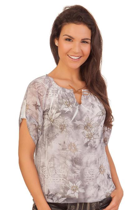 0f9e2aa91b9270 Produktabbildung Hangowear Trachten Damen Bluse - INGRID - grau. für Zoom  doppelt antippen