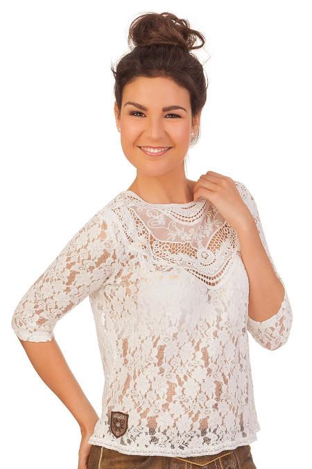 909bda864289 Hangowear Trachten Damen Bluse - ISI - weiß online kaufen, Trachtenbluse