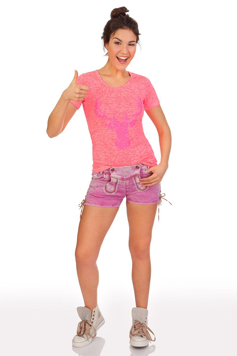 409f6a34bcc7 weitere Produktabbildung Hangowear Trachten Damen Shorts - COLOR JEANS -  hellgrau, pink