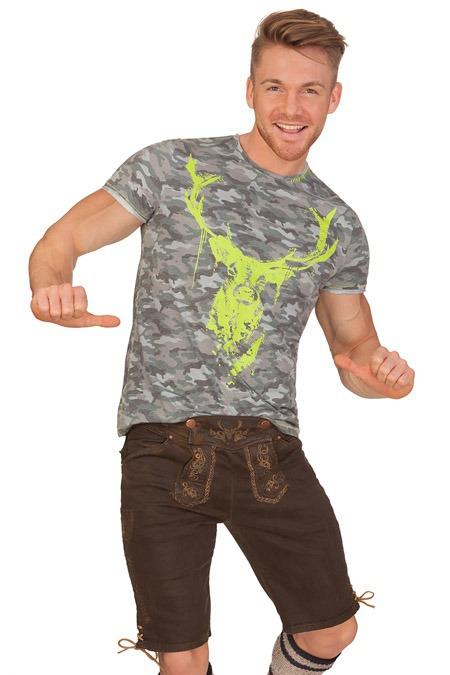 bcf7ad509532e2 Marjo Herren Trachten Jeans Shorts kurz Sammy in Lederhosen Optik ...