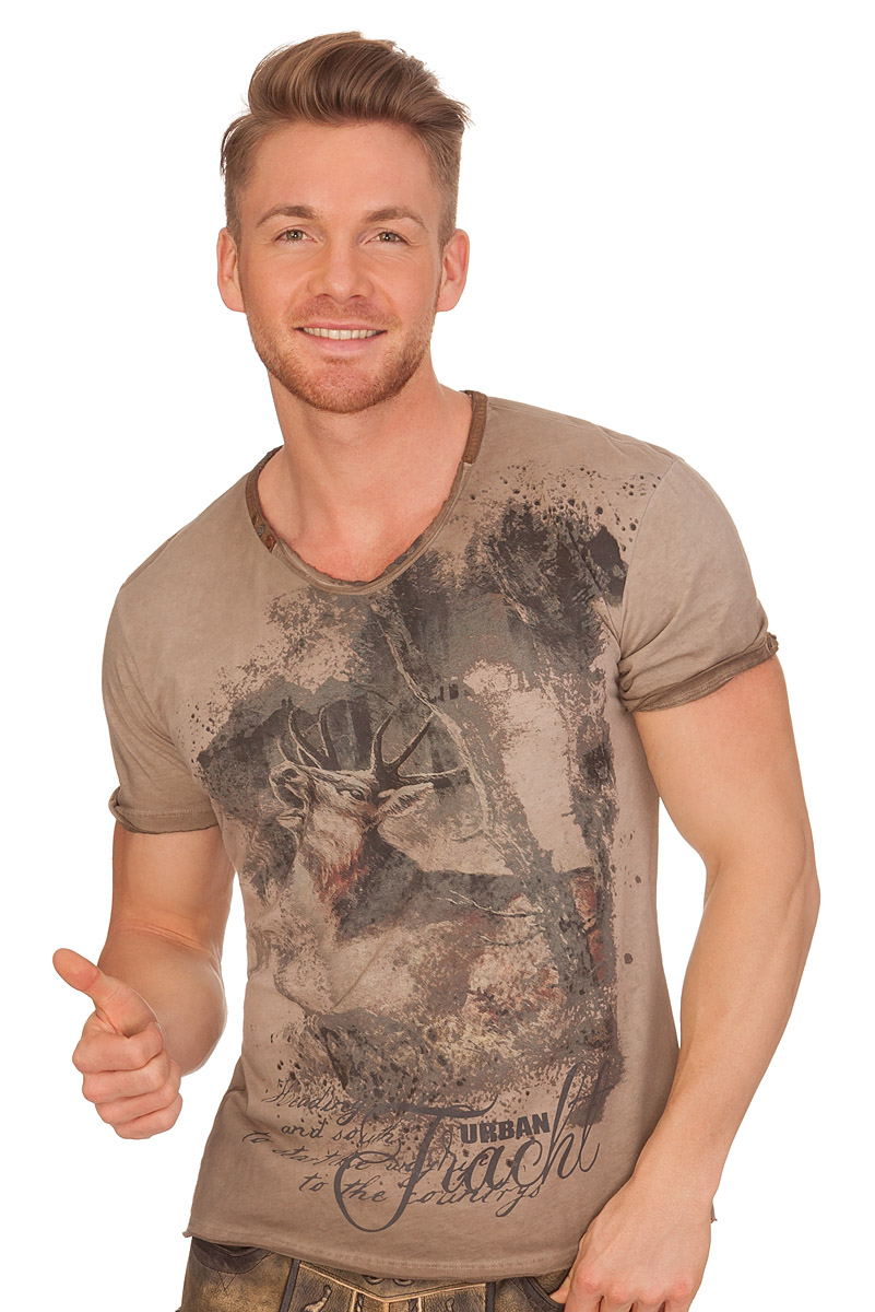 Herren T Shirt mit Hirsch braun