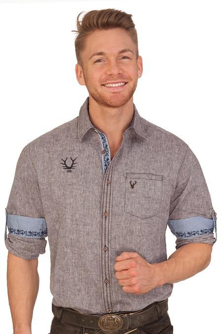 Krüger Buam Trachtenhemd mit langem Arm - BERHTEL - braun 06ed637634
