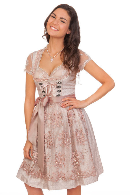 Krüger Damen Dirndl Trachten Kleid Oktoberfest Wiesn Balconette Baumwolle lang