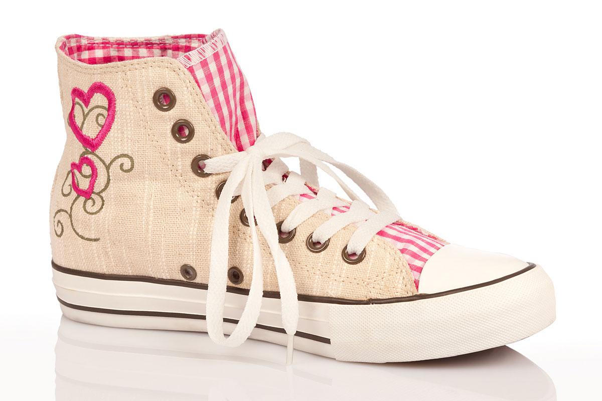 Trachten Madl Damen Karo Sneaker Pink FKlJ1c