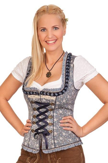 Krüger Dirndl Damen Trachten Bluse Dirndlbluse Irina weiß Stehkragen Gr 30-50