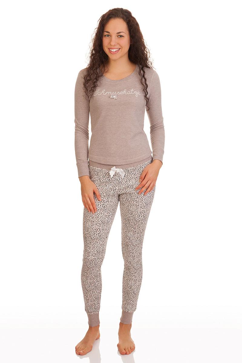 buy online 63b3b b20d3 Pyjama Damen - SCHMUSEKATZE - taupe