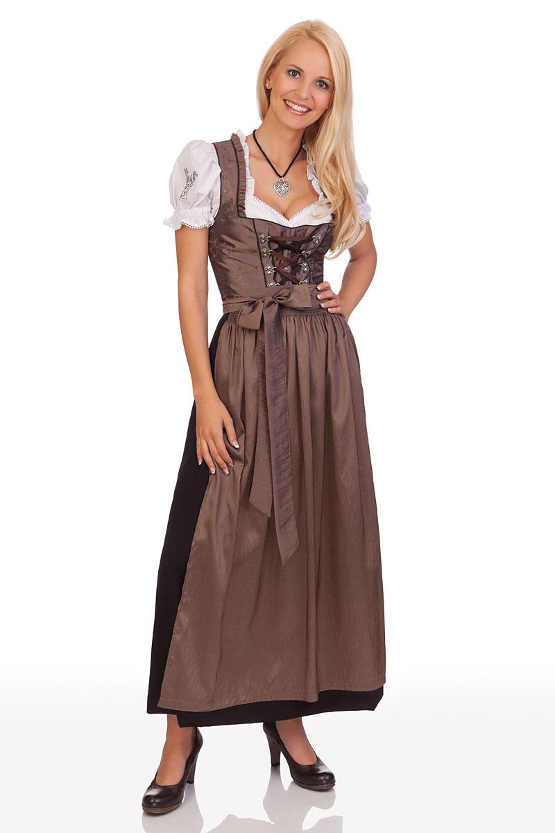 trachtenmode stützle damen dirndl lang trachten kleid taupe