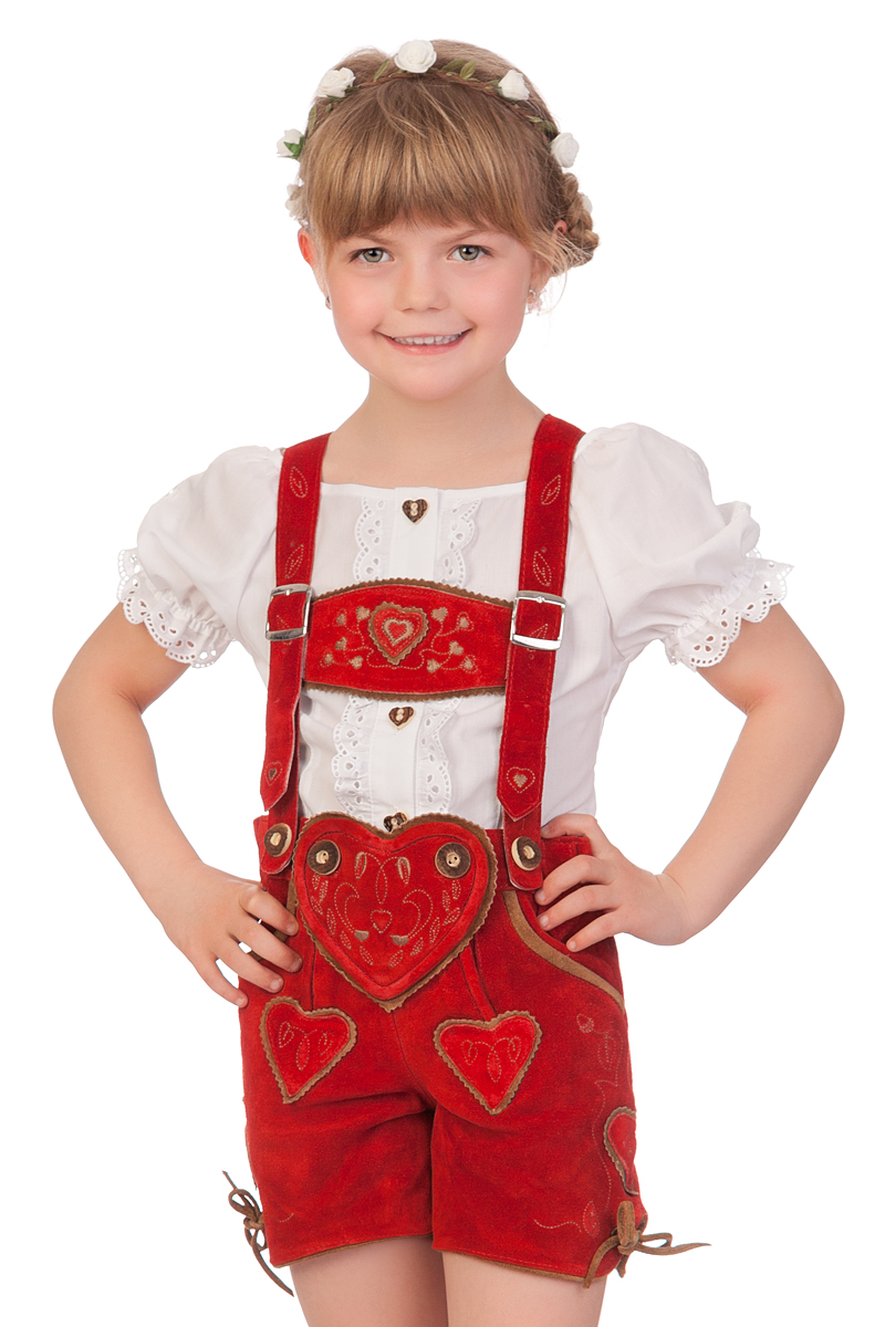 Lederhose Kinder Herzig rot | M. Stützle | Markenshop