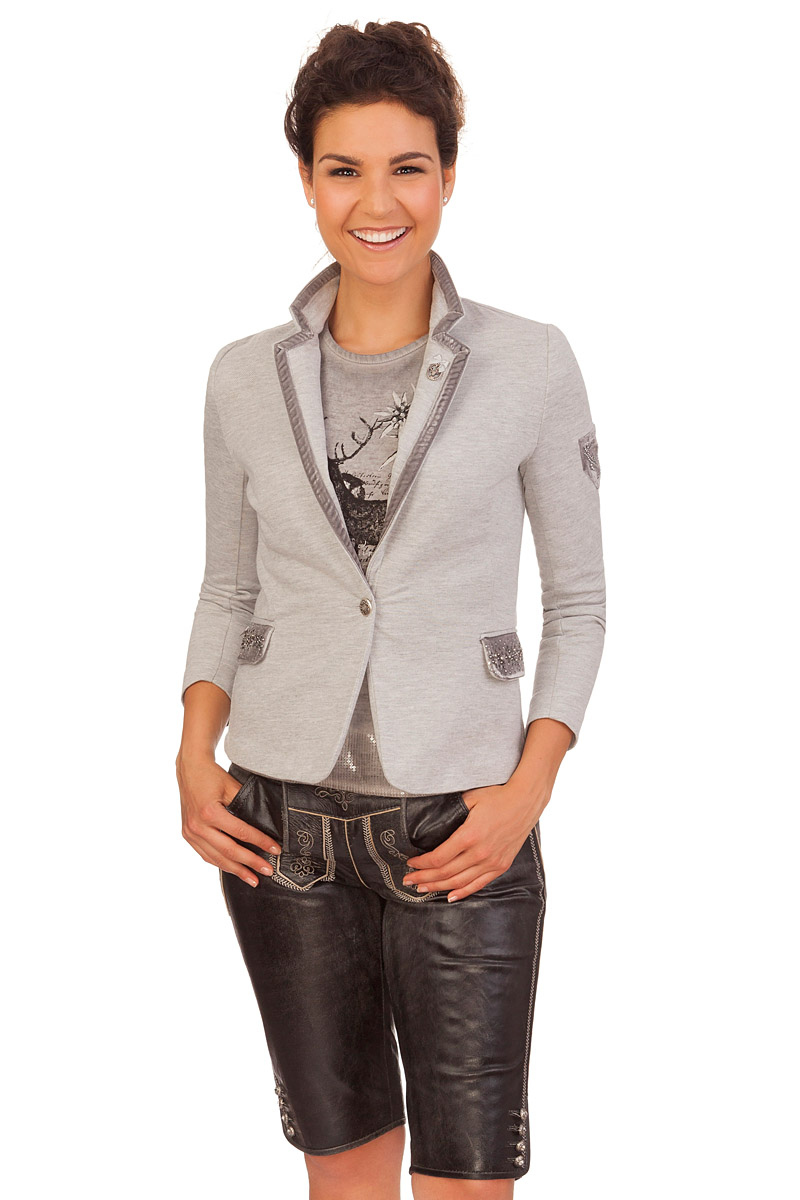 marjo damen trachten jersey blazer dacia grau online kaufen. Black Bedroom Furniture Sets. Home Design Ideas