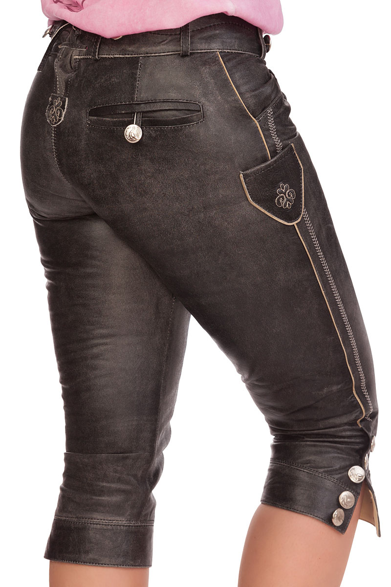 weitere Produktabbildung Marjo Trachten Damen Kniebundlederhose - ANTONIA -  anthrazit 1e029a403
