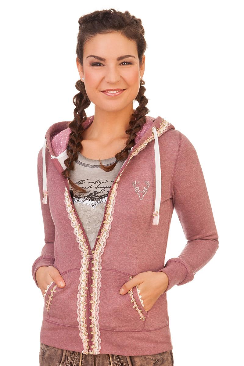 grau-rose mit Kapuze S-XL im SALE Marjo Damen-Jacke Trachten Hoodie Sweatjacke