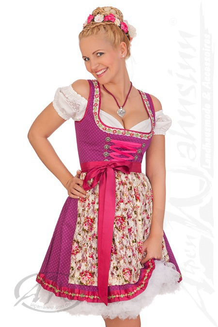 Marjo Damen Mini Dirndl Trachten Kleid kurz Arlene beere 50cm 2tlg Oktoberfest