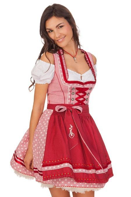 Krüger Kurz Details Rot Karo Oktoberfest Mini Zu Dirndl Tracht Sexy Madl Damen Kleid 50cm WEYbH9eID2