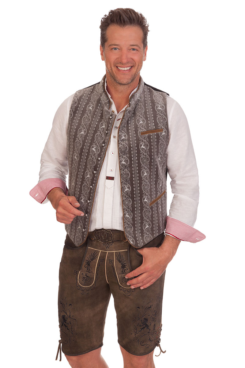 Stockerpoint Trachten Herren Samt Weste Ricardo stein moos Oktoberfest Wiesn
