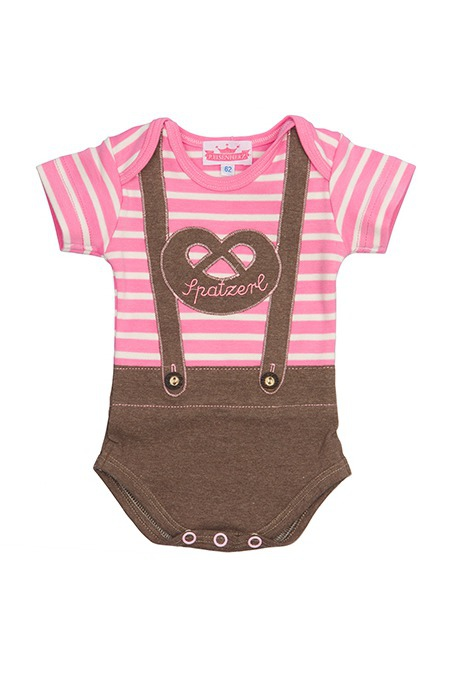 Baby Body Trachten Unterwäsche Babybody Spatzerl Mädchen weiß kurzarm Baumwolle