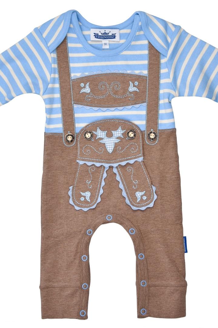the latest af377 491ec Baby Strampler Junge - LEDERHOSE BUAM - hellblau