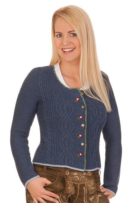 b08c581e130619 Produktabbildung Spieth & Wensky Damen Trachten Strickjacke - FANCY -  jeansblau, nuss