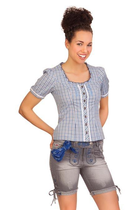64fae748d917 Produktabbildung Spieth   Wensky Trachten Damen Jeanshose kurz - ELAYLA -  denimblau, ...