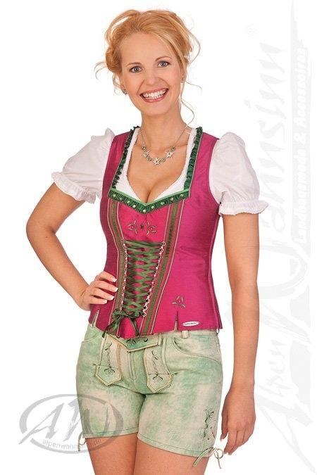 6300a0fc23037c Spieth & Wensky Trachten Damen Lederhose kurz - PANKA - grün