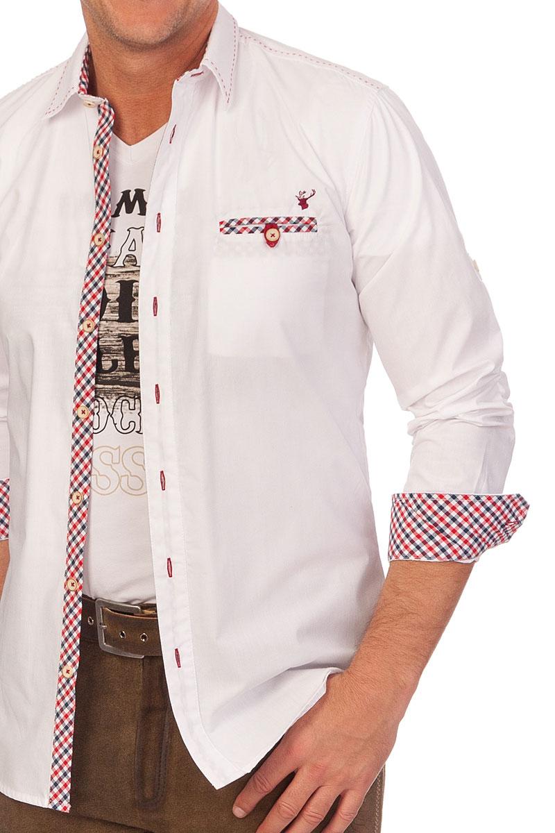 Spieth Wensky Herren Trachtenhemd langarm Enzo rot tanne Slim Fit Oktoberfest