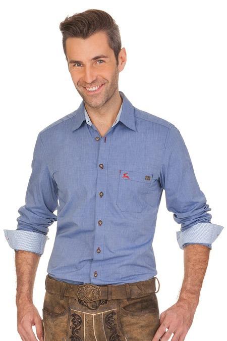 Trachtenhemd FILSEN blau, hellblau
