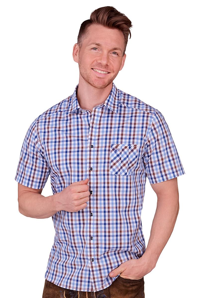 Spieth /& Wensky Herren Trachtenhemd Krakau grün blau kariert kurzarm Kentkragen