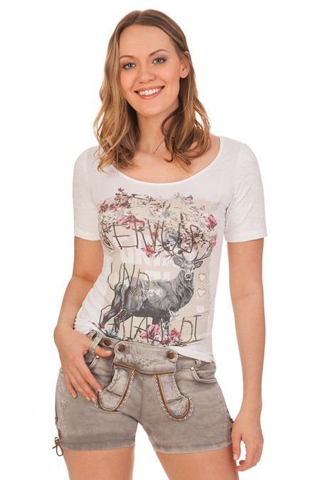 734f48b24b46c Details zu Hangowear Dirndl Trachten Damen Short Stoffhose kurz Jeans  Lederhosenoptik Wiesn
