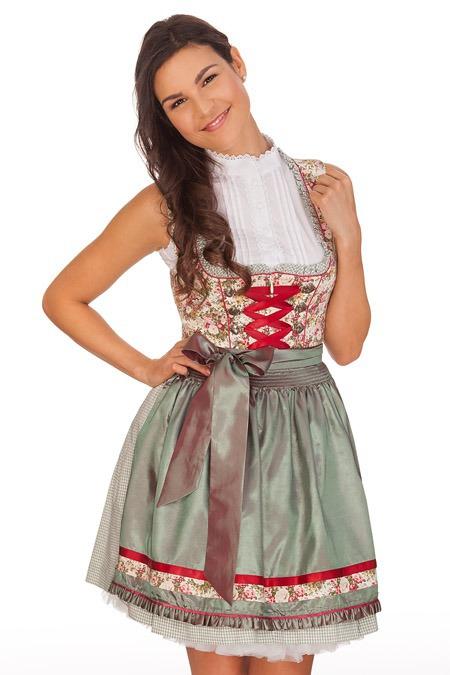 6180296e219b87 Krüger Madl Damen Mini Dirndl Trachten Kleid kariert Blumen grün rot ...