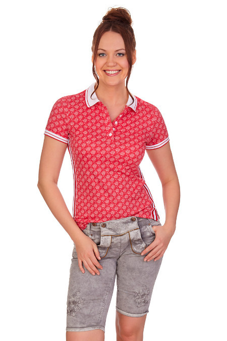Details zu hangOwear Damen Trachten Jeans Hose Bermuda Ovida rot grau Latz Shorts Baumwolle