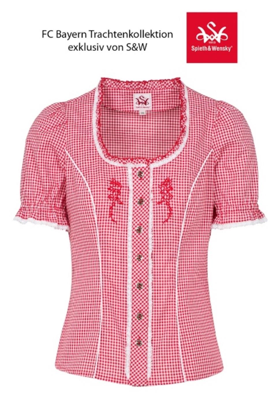 Trachtenbluse Damen Blusen Trachten Oberteil Kurzarm Schwarz Herz Rot Baumwolle