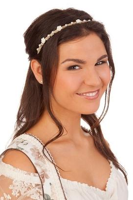 Trachten Damen Haarband rot FILZROSEN//MAGERITEN rosa