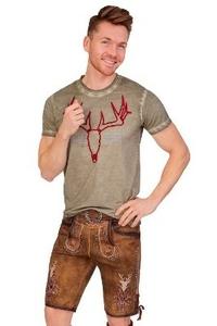 Herren Set Trachten Lederhose hellbaun kurz mit Tr/ägern Trachtenhemd